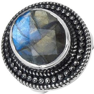 Malaika Sterling Silver 8.30ct. Checkerboard Labradorite Ring