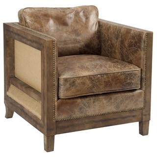 Aurelle Home Everton Rustic Vintage Brown Leather Club Chair