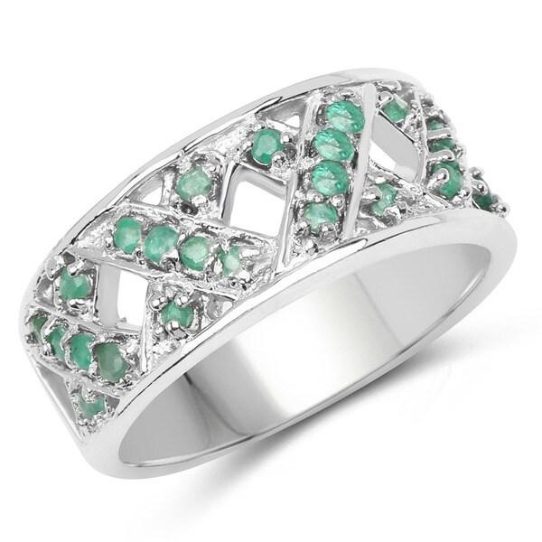 Malaika Sterling Silver 0.60ct. Genuine Emerald X-pattern Ring