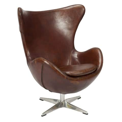 Aurelle Home Danish Classic Leather Egg Lounge Chair