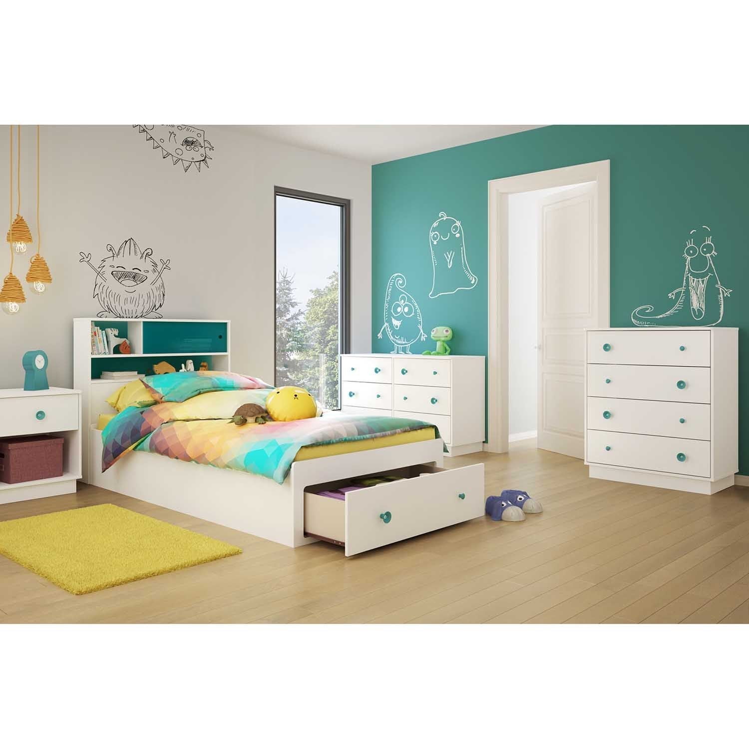 South Shore Little Monsters' White and Turquoise Twin Hea...