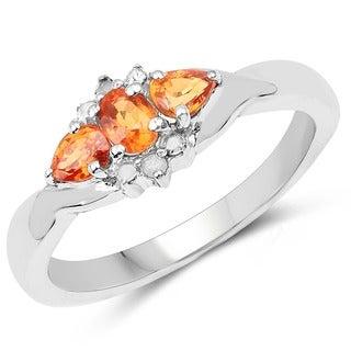 Malaika Sterling Silver 0.75ct. TCW Orange Sapphire and White Topaz Ring