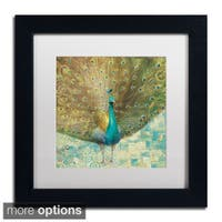 Danhui Nai 'Teal Peacock on Gold' Framed Matted Art