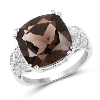 Olivia Leone Sterling Silver 6.18ct. Smoky Quartz and Diamond Accent Ring