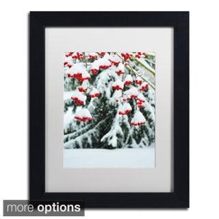 Kurt Shaffer 'Winter Berries and Pine' Framed Matted Art
