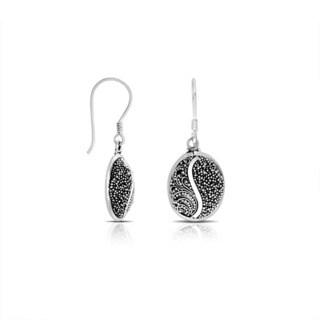 Handmade Bali Sterling Silver Pebbled Scrollwork Dangle Earrings (Indonesia)