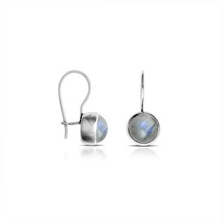 Handcrafted Sterling Silver Bali Rainbow Moonstone Dangle Earrings (Indonesia)