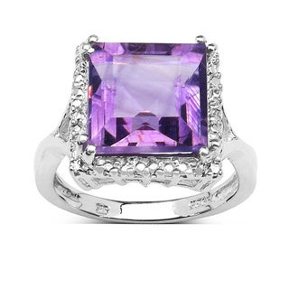 Olivia Leone Sterling Silver 4 1/3ct TGW Genuine Amethyst Ring