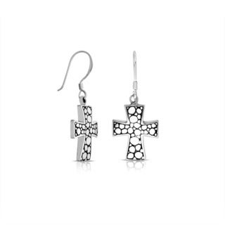 Handmade Bali Sterling Silver Pebbled Cross Dangle Earrings (Indonesia)