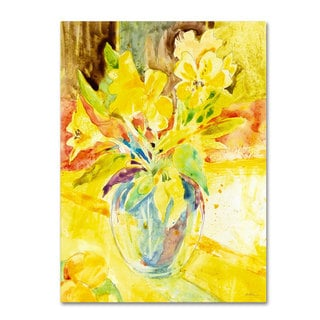 Sheila Golden 'Vase with Yellow Flowers' Canvas Art