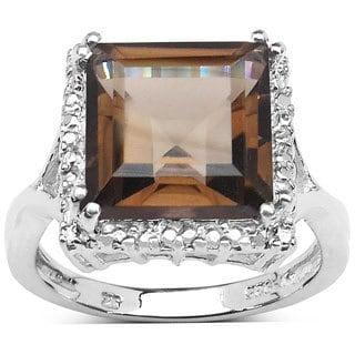 Olivia Leone Sterling Silver 4 3/5ct TGW Genuine Smoky Quartz Ring