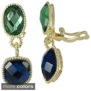 Luxiro Goldtone Multi-colored Faceted Glass Oval and Square Dangling Clip-on Earrings