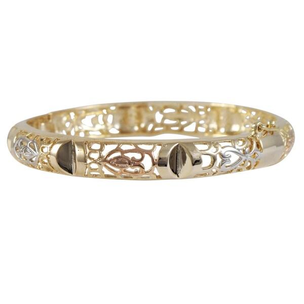 Luxiro Goldtone Tri-color Filigree Bangle Bracelet