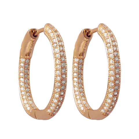 Luxiro Sterling Silver Pave Cubic Zirconia Oval Hoop Earrings