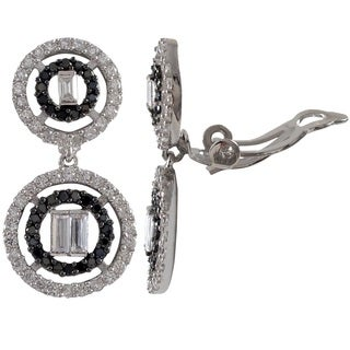 Luxiro Sterling Silver Baguettes Cubic Zirconia Graduated Open Circles Clip-on Earrings