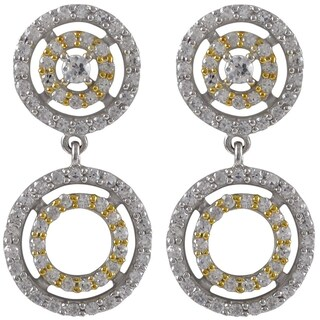 Luxiro Sterling Silver Cubic Zirconia Graduated Open Circles Clip-on Earrings
