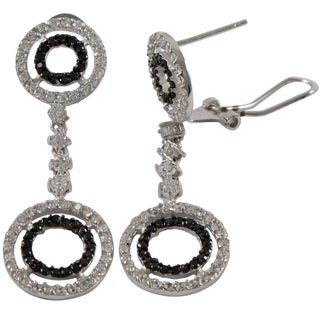 Luxiro Sterling Silver Black and White Cubic Zirconia Graduated Open Circle Dangle Earrings