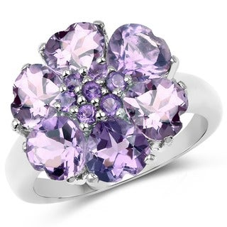 Malaika Sterling Silver 4 1/2ct TGW Genuine Amethyst Floral Ring