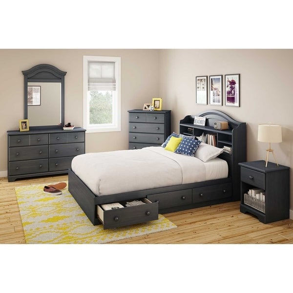 south shore summer breeze blueberry full bookcase headboard free shipping today overstock. Black Bedroom Furniture Sets. Home Design Ideas