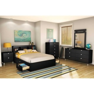 South Shore Spark Full Bookcase Headboard, Pure Black