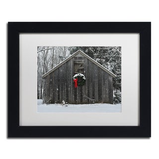 Kurt Shaffer 'Christmas Barn in the Snow' Framed Matted Art