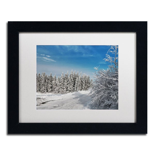 Lois Bryan 'Snowy Country Lane' Framed Matted Art