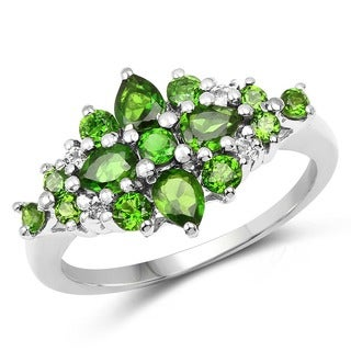 Malaika Sterling Silver 1 1/3ct TGW Chrome Diopside and White Topaz Cluster Ring