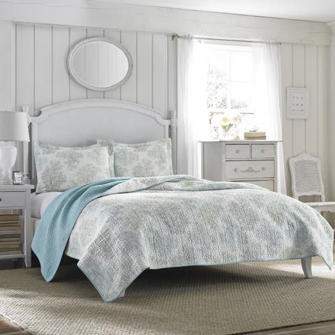 Laura Ashley Saltwater Blue Reversible 3-piece Cotton Quilt Set