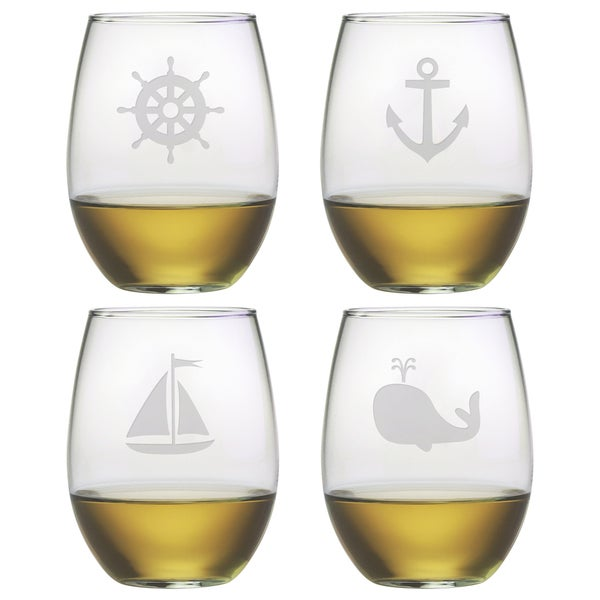nautical icons stemless wine glasses set of 4
