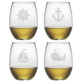 Nautical Icons Stemless Wine Glasses (Set of 4)