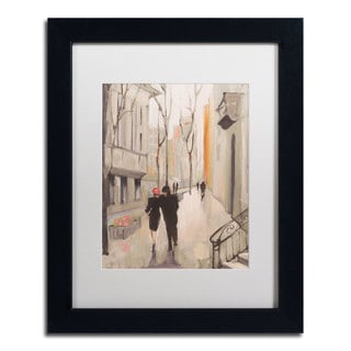 Julia Purinton 'Village Promenade Neutral' Framed Matted Art