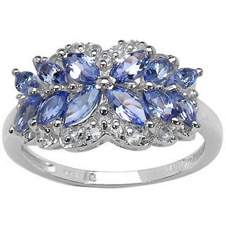 Malaika Sterling Silver 1 2/5ct TGW Tanzanite and White Topaz Butterfly Ring