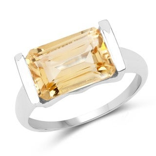 Malaika Sterling Silver 3 4/5ct TGW Genuine Citrine Cocktail Ring