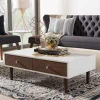 Baxton Studio Gemini White and Walnut Wood Contemporary Mid-century Style Coffee Table