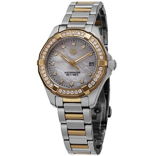 Tag Heuer Women's WAY1353.BD0917 '300 Aquaracer' Mother of Pearl Diamond Dial Two Tone Diamond Swiss Quartz Watch