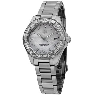 Tag Heuer Women's WAY1314.BA0915 '300 Aquaracr' Mother of Pearl Dial Diamond Stainless Steel Watch