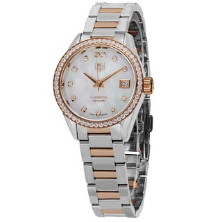 Tag Heuer Women's 'Carrera' Mother of Pearl Dial Diamond Two Tone Automatic Watch