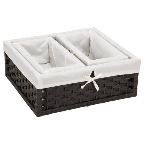 Household Essentials Paper Rope Utility Baskets (Set of 3)