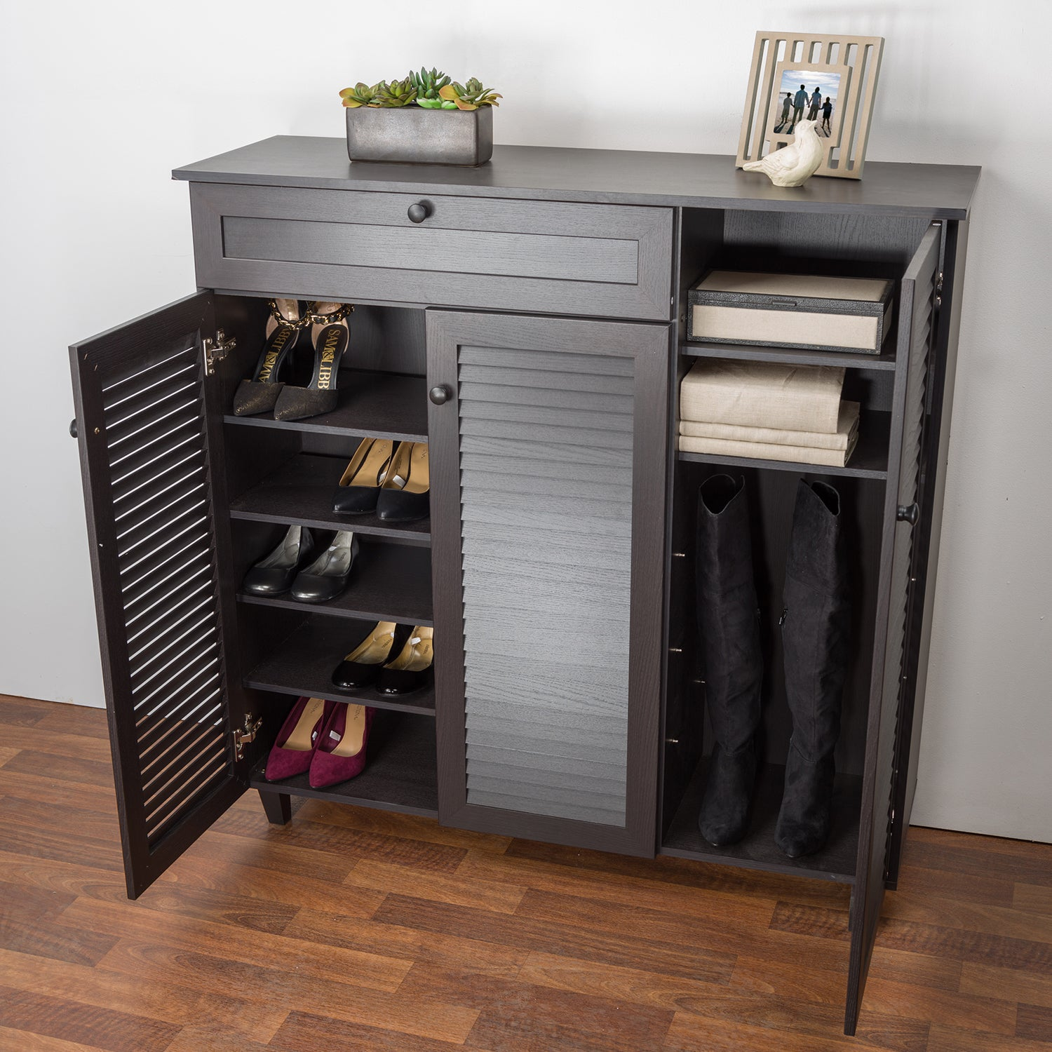 Baxton Studio Pocillo Espresso Finished Wood Shoe Storage Cabinet