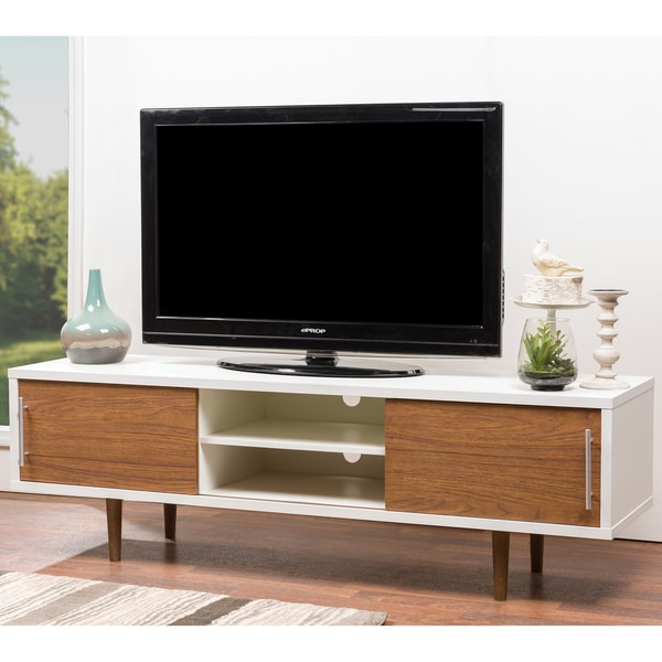 Mid Century White And Brown Tv Stand By Baxton Studio