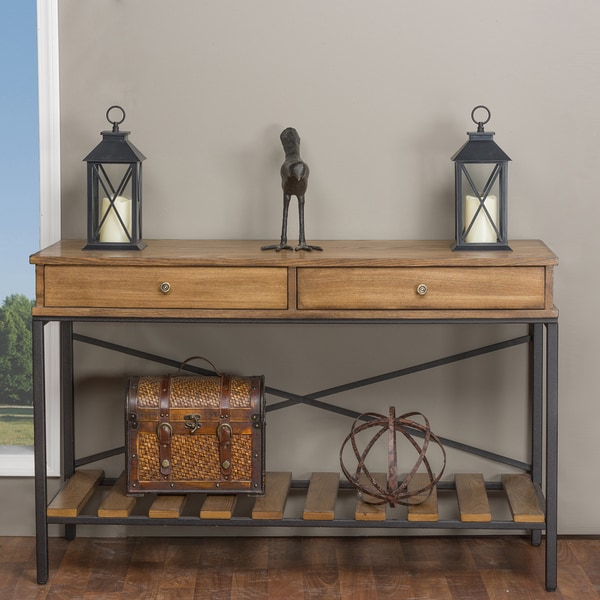 Baxton Studio Newcastle Industrial Rustic Wood And Metal Vintage Look Criss Cross Console Table