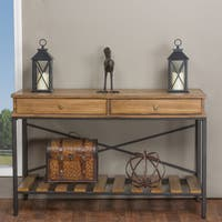 Baxton Studio Newcastle Industrial Rustic Wood and Metal Vintage Look Criss-cross Console Table