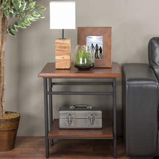 Baxton Studio Newcastle Vintage Industrial Wood and Metal End Table