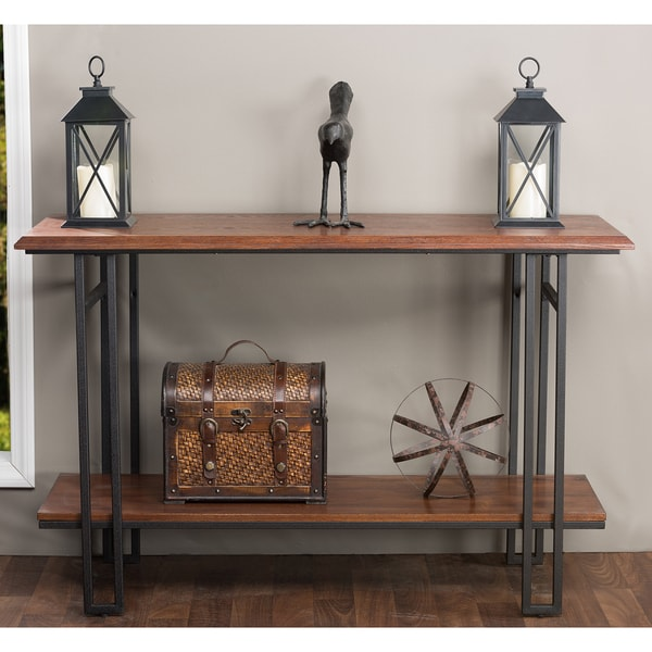 Newcastle wood and metal console table free shipping for Metal and wood console tables
