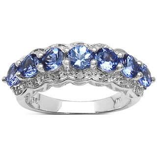 Malaika Sterling Silver 1 3/5ct TGW Tanzanite and White Topaz 7-stone Ring