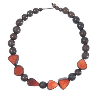 Faire Collection Gemma Tagua Necklace in Burgundy (Ecuador)