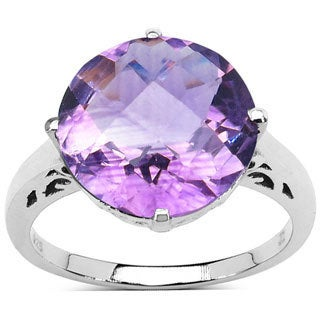 Malaika Sterling Silver 5 3/5ct TGW Solitaire Genuine Amethyst Ring
