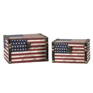 Household Essentials American Flag Design Trunk (Set of 2)