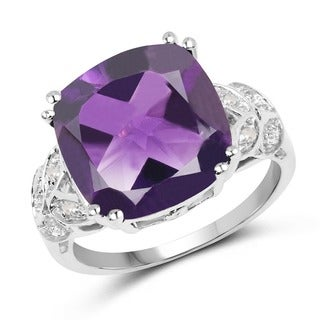 Olivia Leone Sterling Silver 5 3/4ct TGW Genuine Amethyst and Diamond Accent Ring