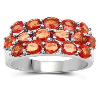 Malaika Sterling Silver 4ct TGW 3-row Genuine Orange Sapphire Cluster Ring